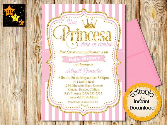 SPANISH Pink and Gold Princess Baby Shower Invitation