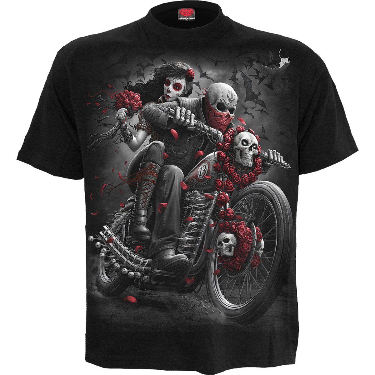 Three Skulls Mens Motorbike T-Shirt Bike Biker Motorcycle Gothic Tattoo