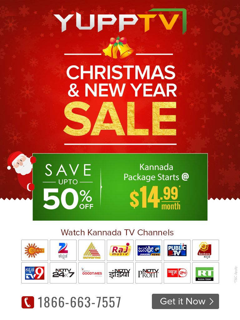 YuppTV offering the 50% off as the Christmas & New Year Sale