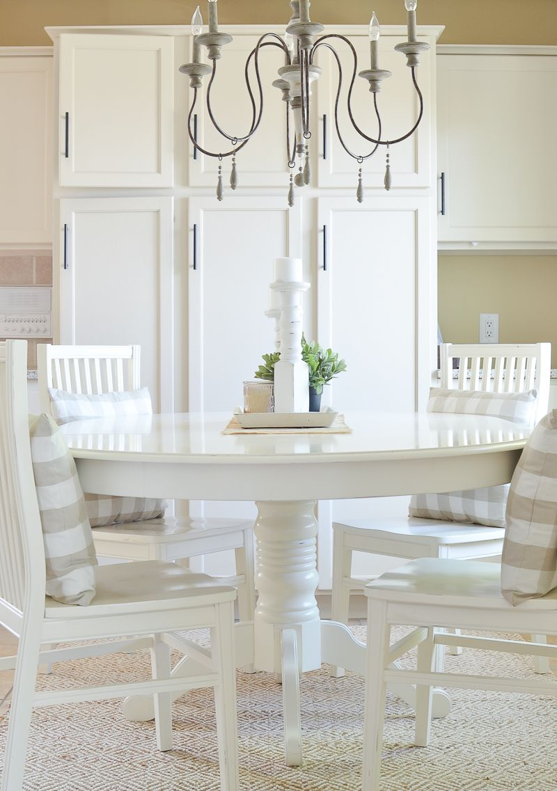 Updated Farmhouse Style Breakfast Nook White Dining Room White Dining Table Dining Table