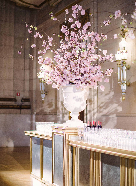 Tall Cherry Blossom Flower Arrangement On Gold Bar Tall Flower Arrangements Cherry Blossom Flowers Cherry Blossom Wedding
