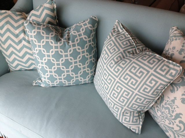 patterned seaglass and white decorative throw pillows