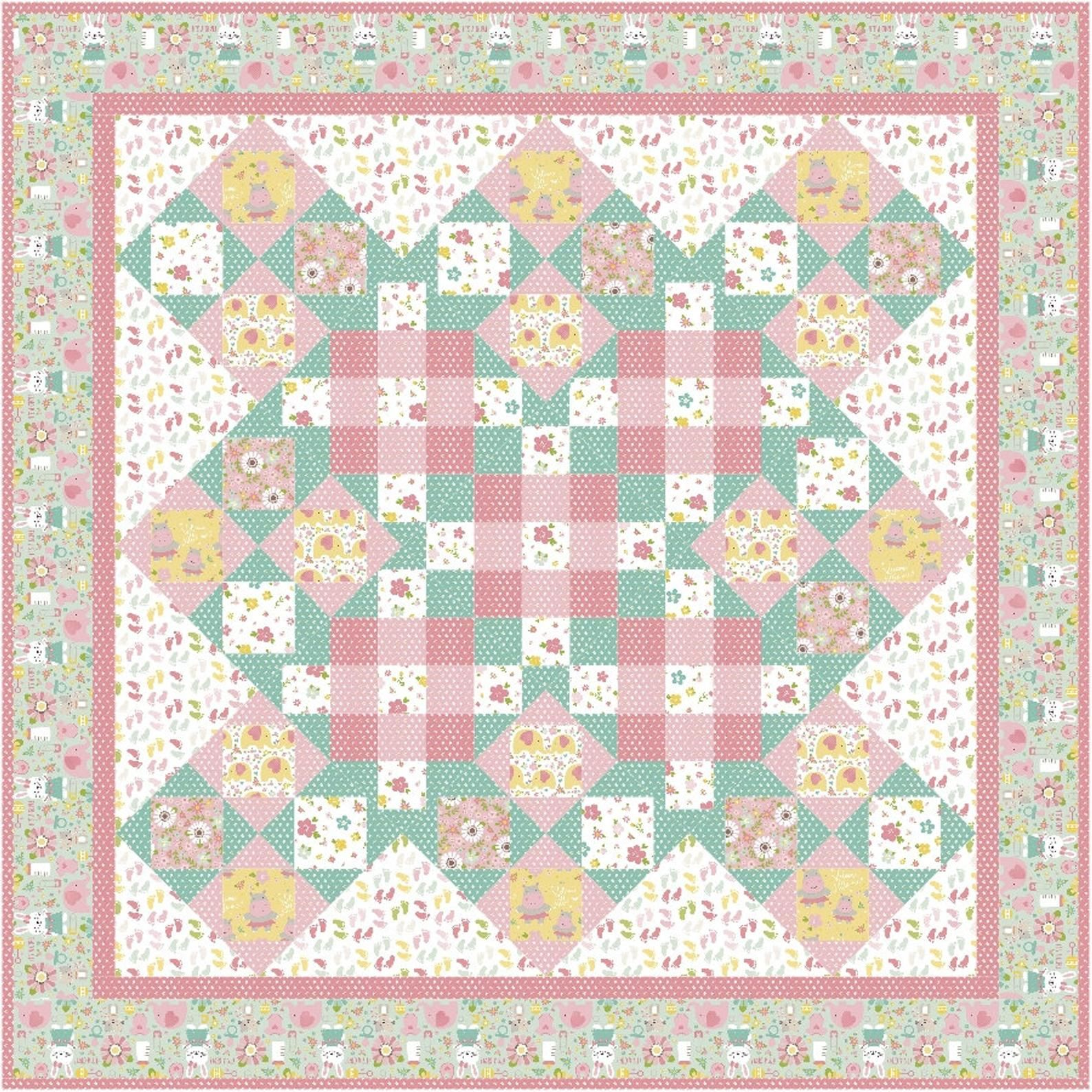 Easy quilt pattern for beginners Vintage Girl baby