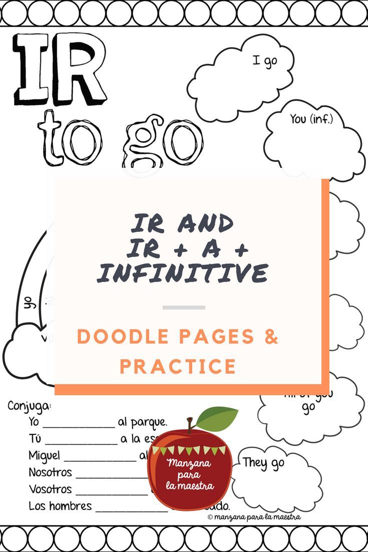 Worksheets Ir A Infinitive Worksheet ir doodle pages worksheets notes a infinitive spanish first verbs classroom student learning and spanish
