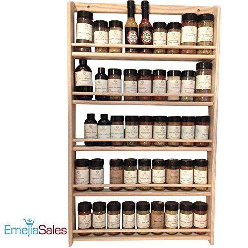 Woodworking Plans For Kitchen Spice Rack: EmejiaSales Oak Spice Rack Wall Mount 5Shelf Design