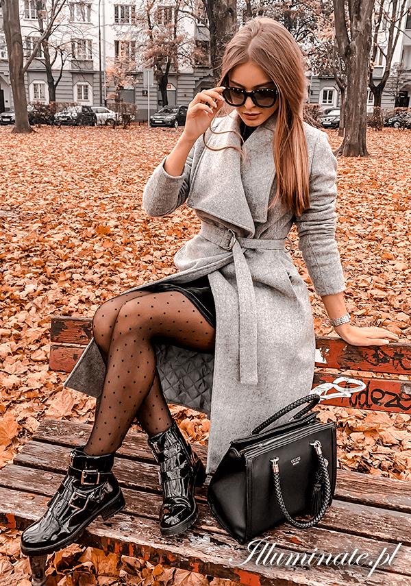 Gisele Szary Welniany Plaszcz Ocieplany Autumn Fashion Fashion Outfits Invierno