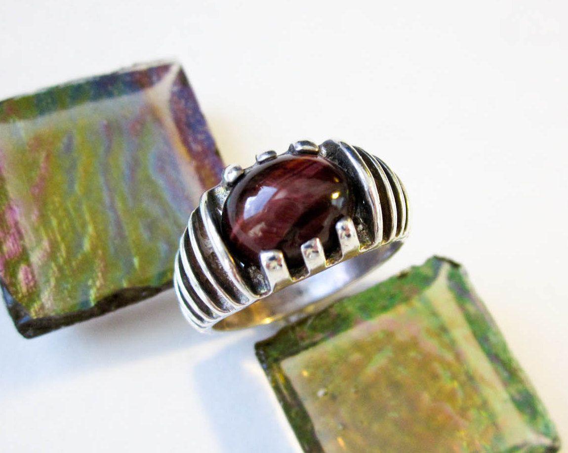Brutalist ring 1970s red tigers eye gem sterling etsy