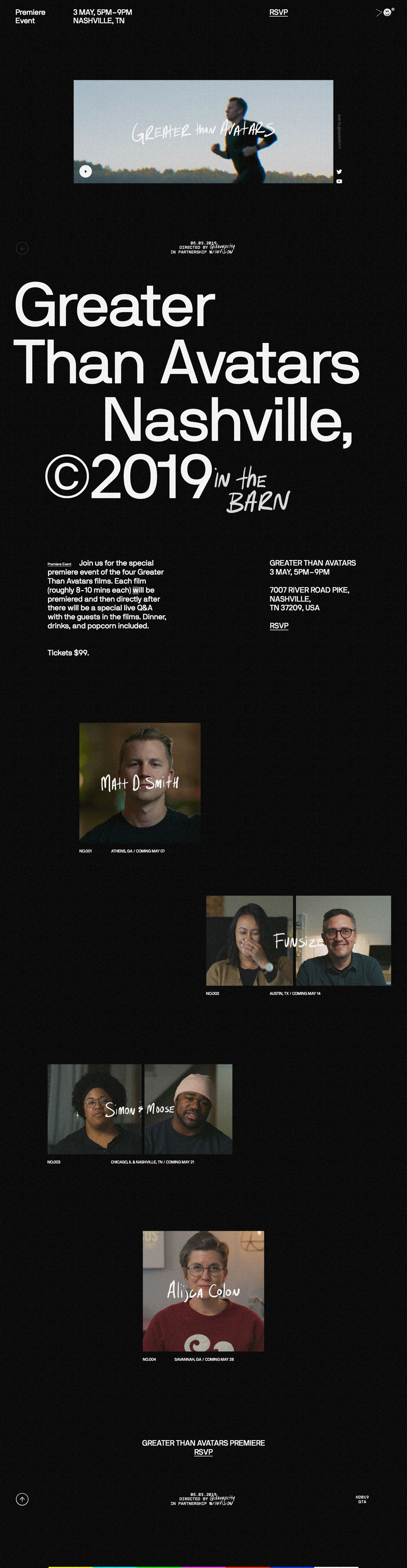 Greater Than Avatars Is A Series Of 4 Short Films That Shed The Light On The People Behind The Avatars Web Design Landing Page Design Best Landing Page Design