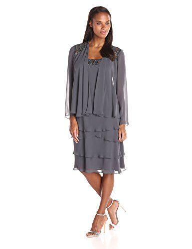 Sl fashions sleeveless petal-tiered beaded dress
