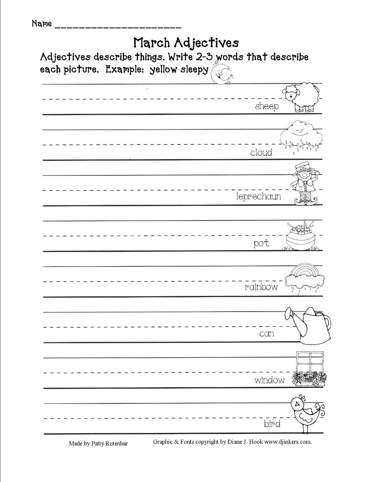 Blogger Second Grade Freebies Adjective Worksheet Second Grade Writing