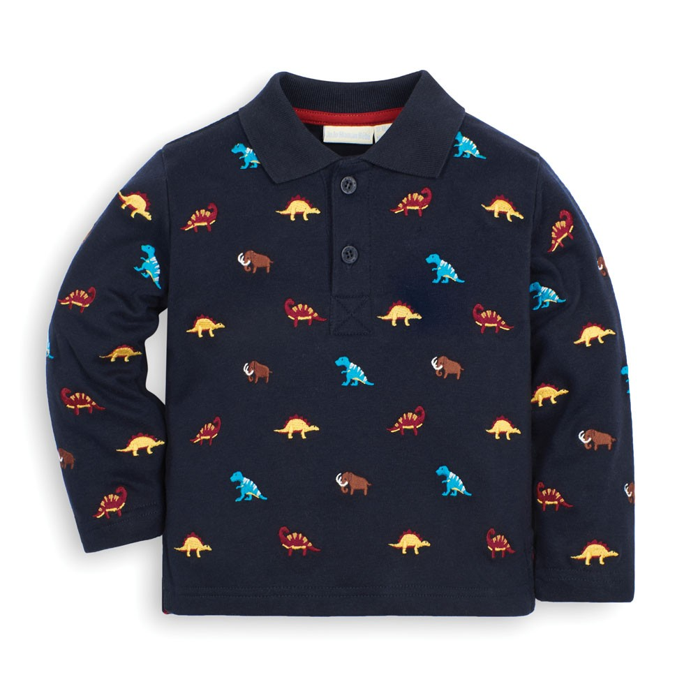 Kids' Prehistoric Animal Embroidered Polo Shirt #prehistoricanimals Kids' Prehistoric Animal Embroidered Poloshirt | JoJo Maman Bebe #prehistoricanimals