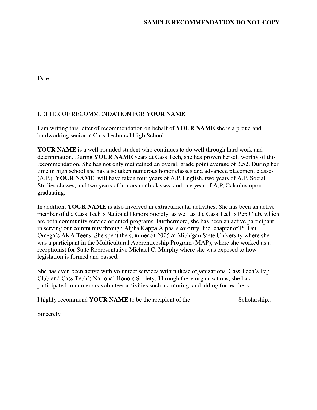 Reference Letter of Recommendation Sample – Letter of Recommendations