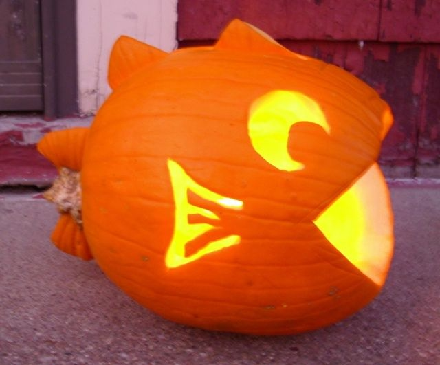 Fish pumpkin carving