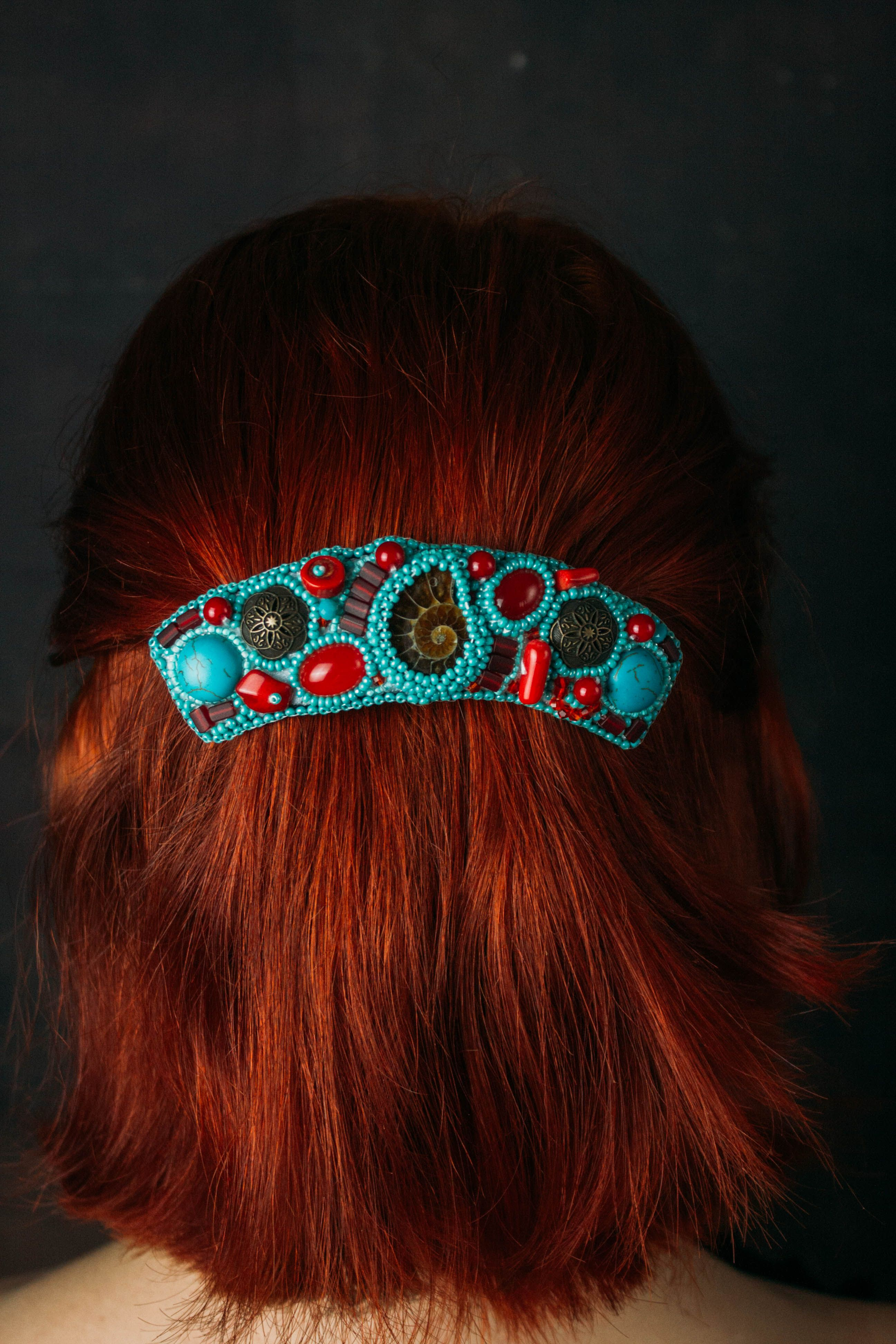 Handcrafted hair barette large colorful with hearts
