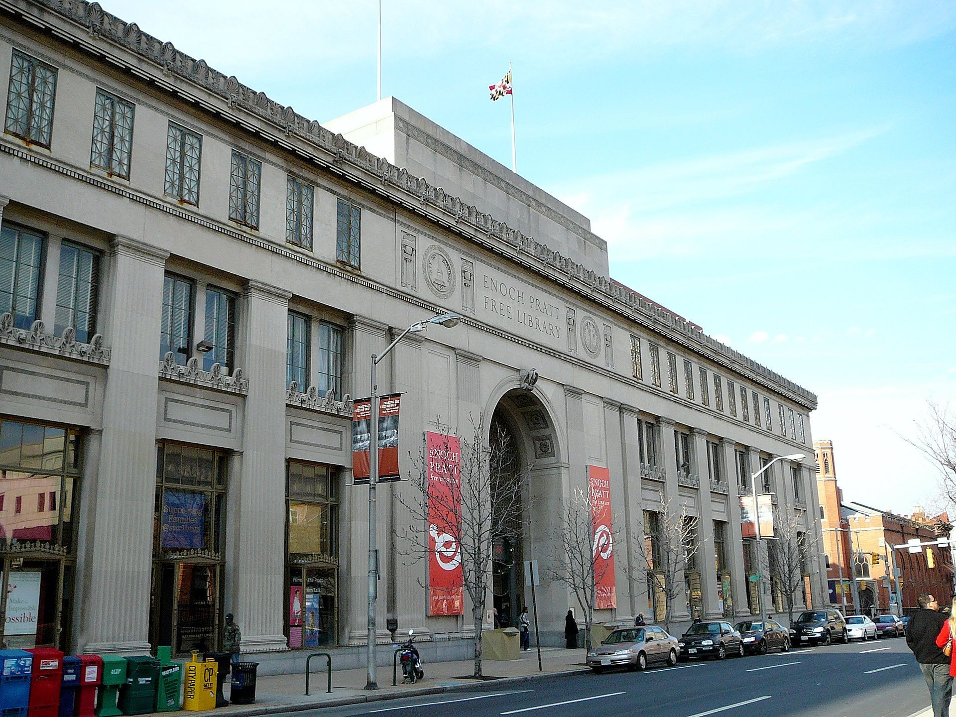 The Enoch Pratt Free Library, located in Baltimore, Maryland, is one of the oldest free public libraries in the United States.