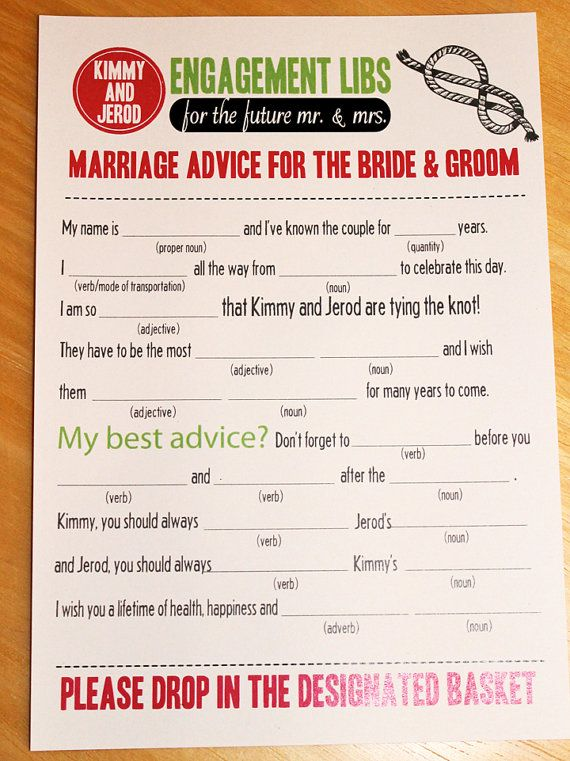 Cute Thing For Guest To Fill Out Engagement Libs Nice Wedding