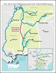 Tennessee-Tombigbee Waterway and U.S. Inland Waterways Map | Great ...