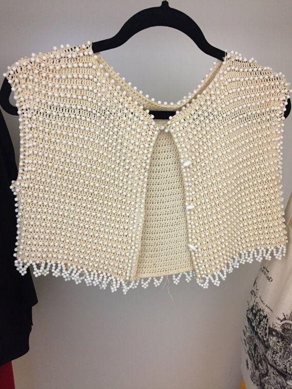 Bolero de crochet Vintage bohohiem de cuentas por HoardersClearout ...