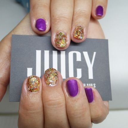ideas for short nails gold glitter and violet  nails