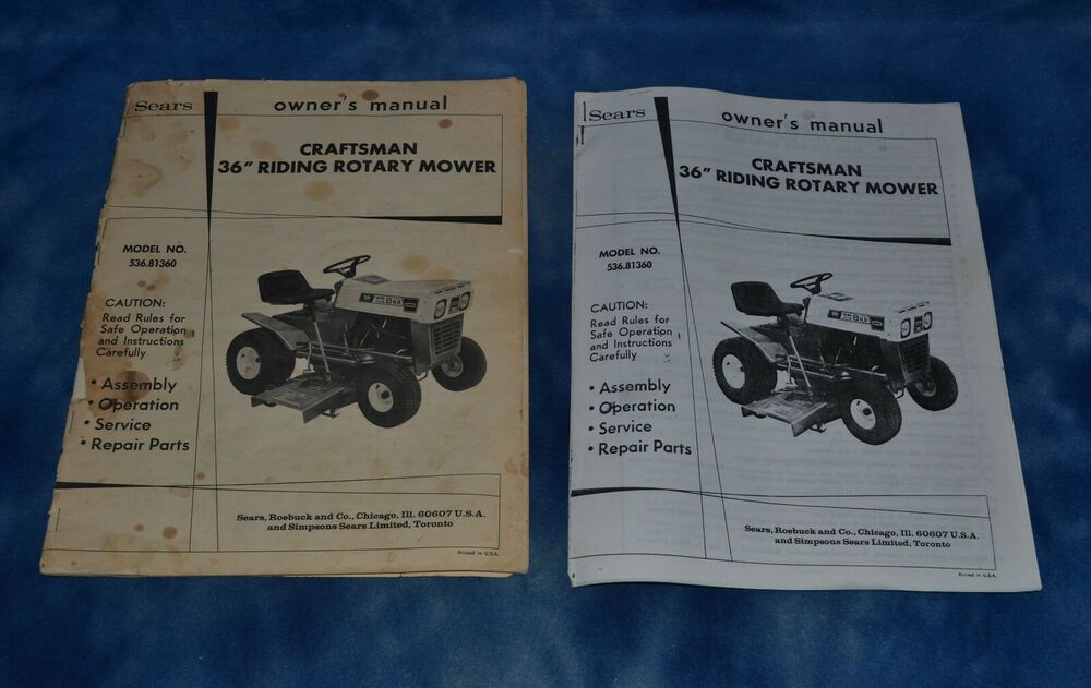 Sears Model 536 81360 36 Riding Rotary Mower Owner S Manual Original Copy Craftsman Rotary Mower Mower Owners Manuals