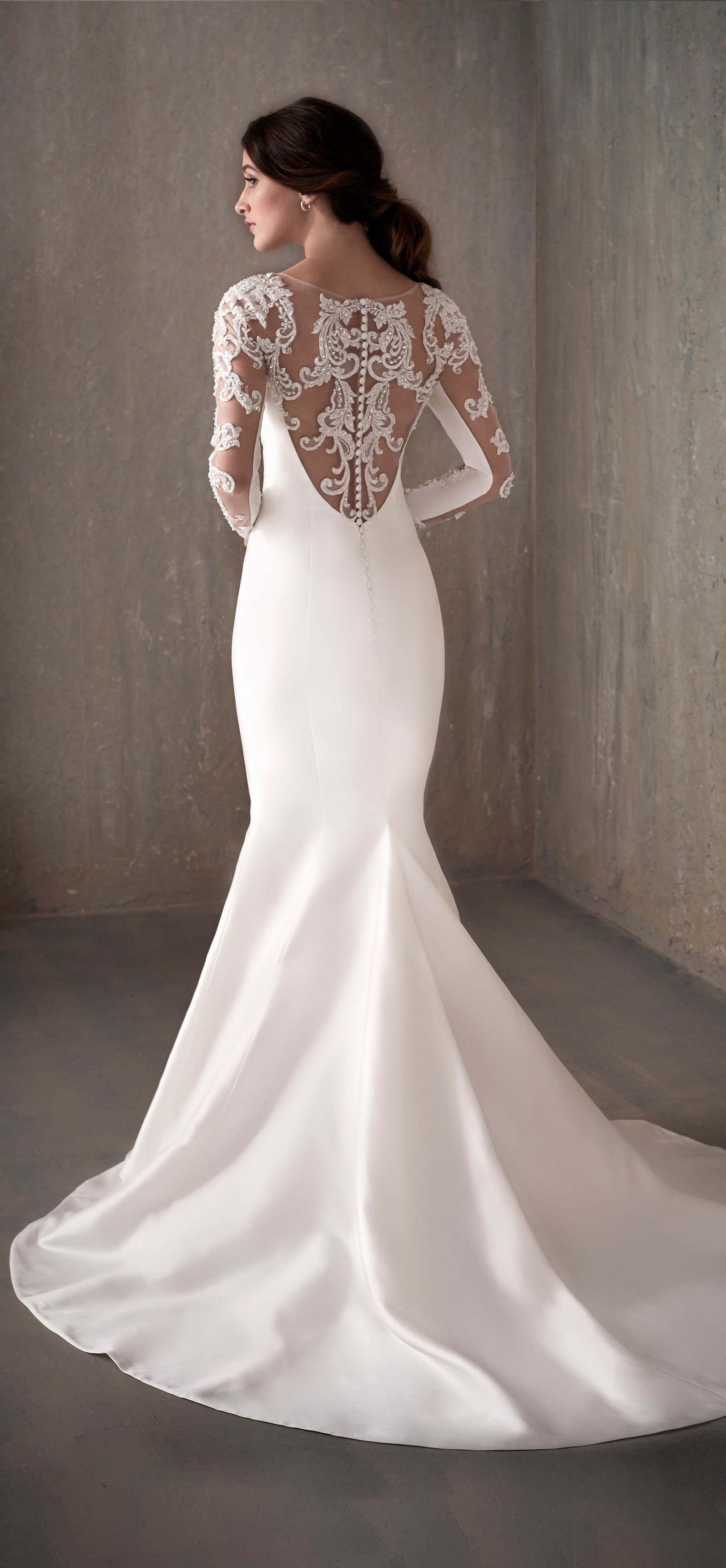 Simple Long Sleeve Trumpet Wedding Dress With Lace Illusion Neckline Tight Wedding Dress Wedding Dresses Trendy Wedding Dresses