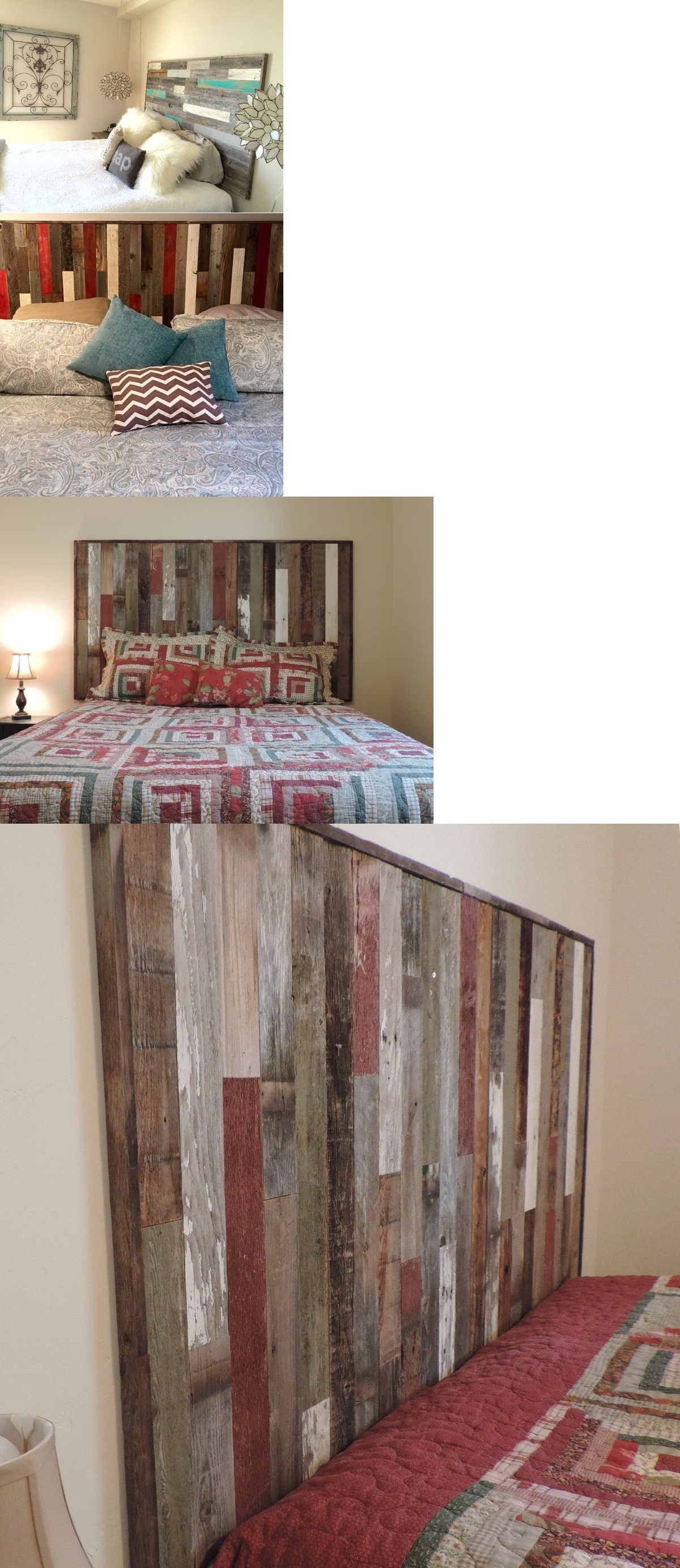 Headboards And Footboards 109064 New Rustic Reclaimed Barnwood Queen Size Wall Mounted Headboard Farmhouse Decor