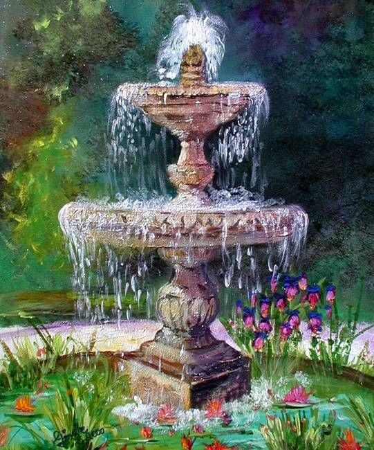 u0026quot fountain in french garden painting by ginette u0026quot  by ginette callaway in 2019