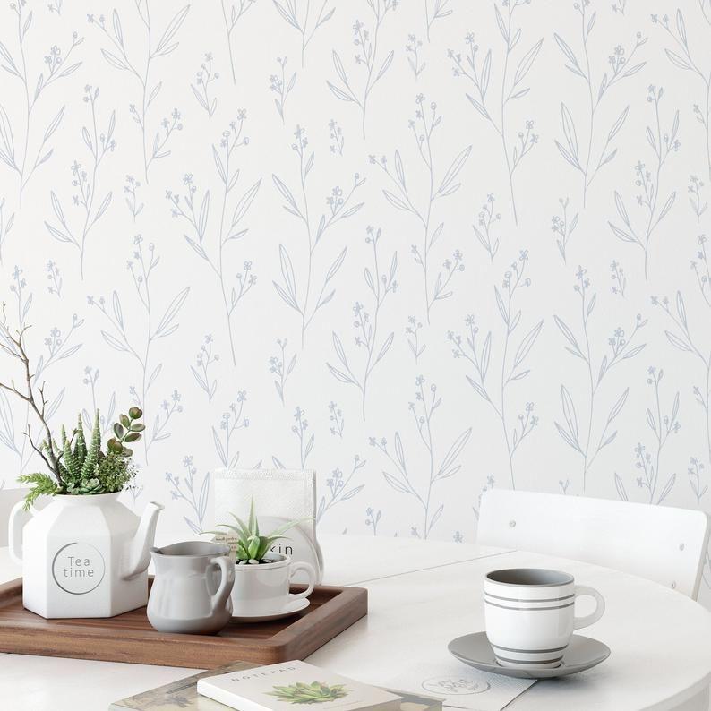 Pale Blue Floral Wallpaper Watercolor Floral Wallpaper Peel Etsy In 2021 Blue Floral Wallpaper Floral Wallpaper Abstract Wallpaper Backgrounds
