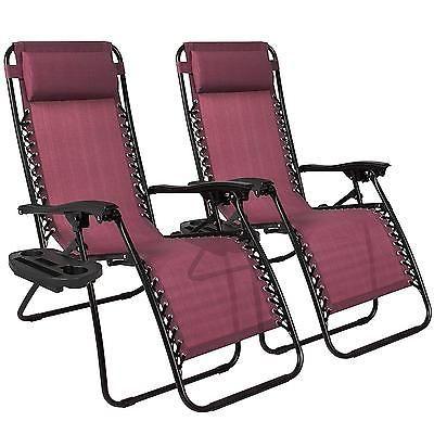 Zero Gravity Chairs 2 Pc Burgundy Lawn Patio Porch Beach Pool Yard Tray Recliner Patio Lounge Chairs Outdoor Chairs Lounge Chair Outdoor