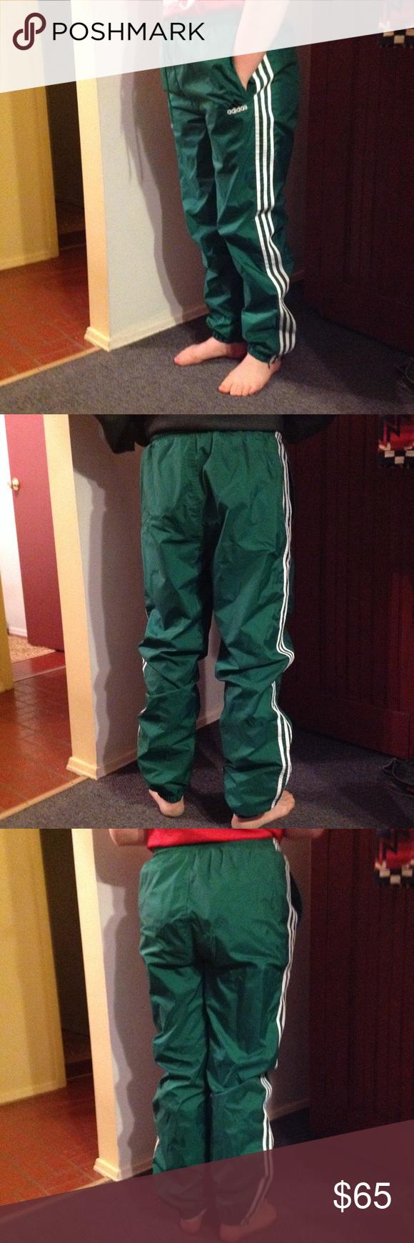 Vintage Green Adidas Track Pants Unisex Joggers M Nice pair
