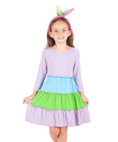 Another great find on #zulily! Lavender & Green Tiered Dress - Toddler & Girls #zulilyfinds