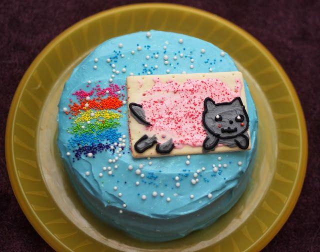 Geek Birthday Nyan Cat Cake Rainbow Inside Too Cakes