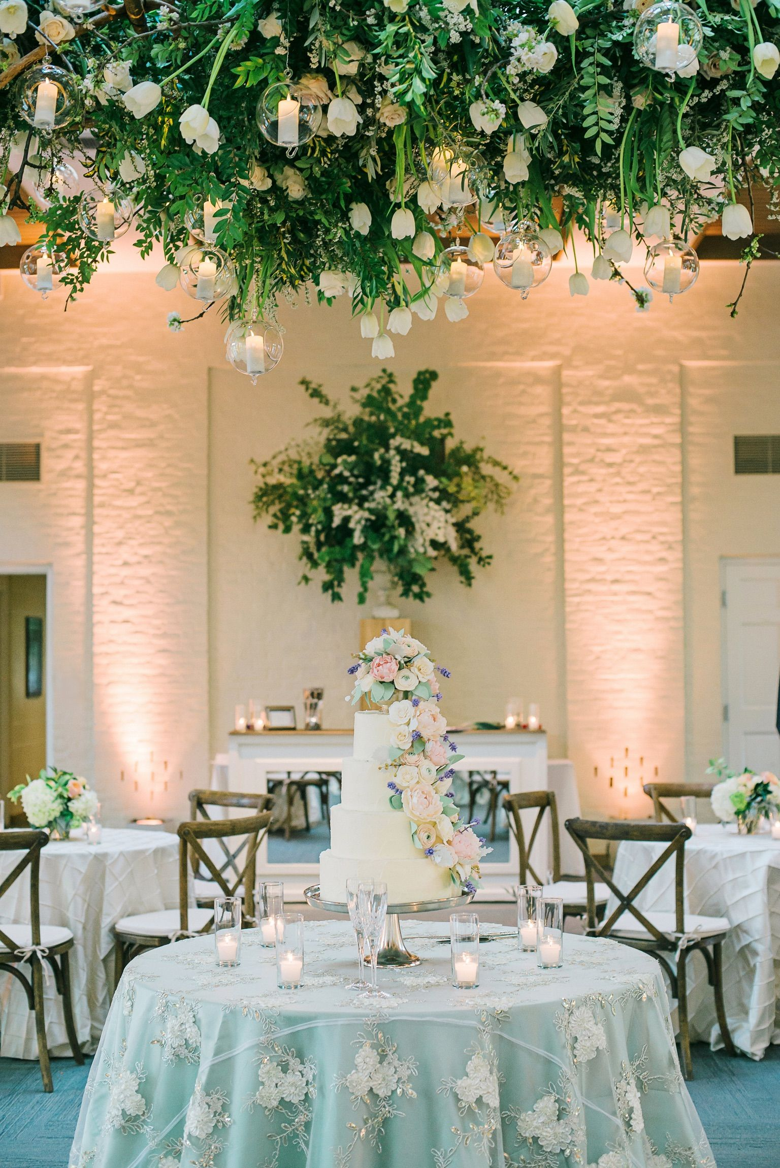 Ivory White Green Charming Enchanted Wedding Reception