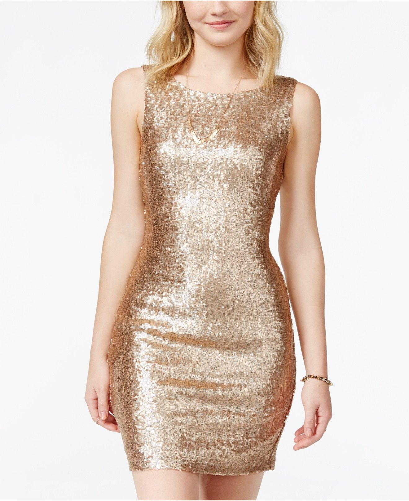 0db280d0b3829 Crystal Doll Juniors' Sequin Bodycon Tank Dress - Juniors Dresses - Macy's