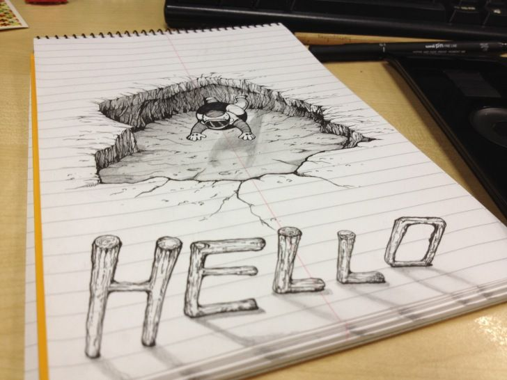 Piccsy Fake 3D Hand Drawing
