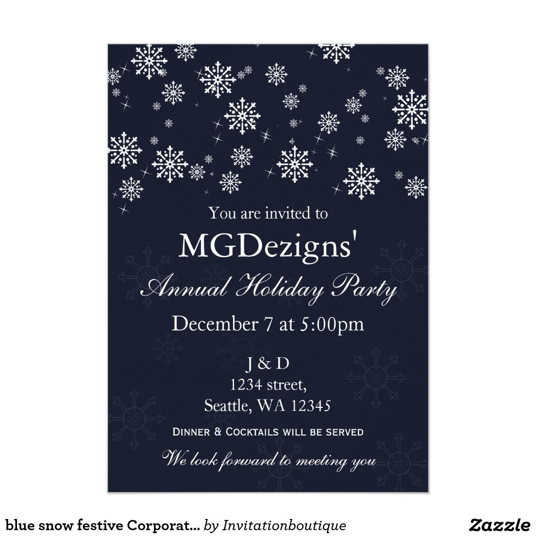 blue snow festive Corporate holiday party Invitate 5x7 Paper ...