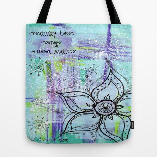 Teal Flower II Tote Bag www.juliem.pro