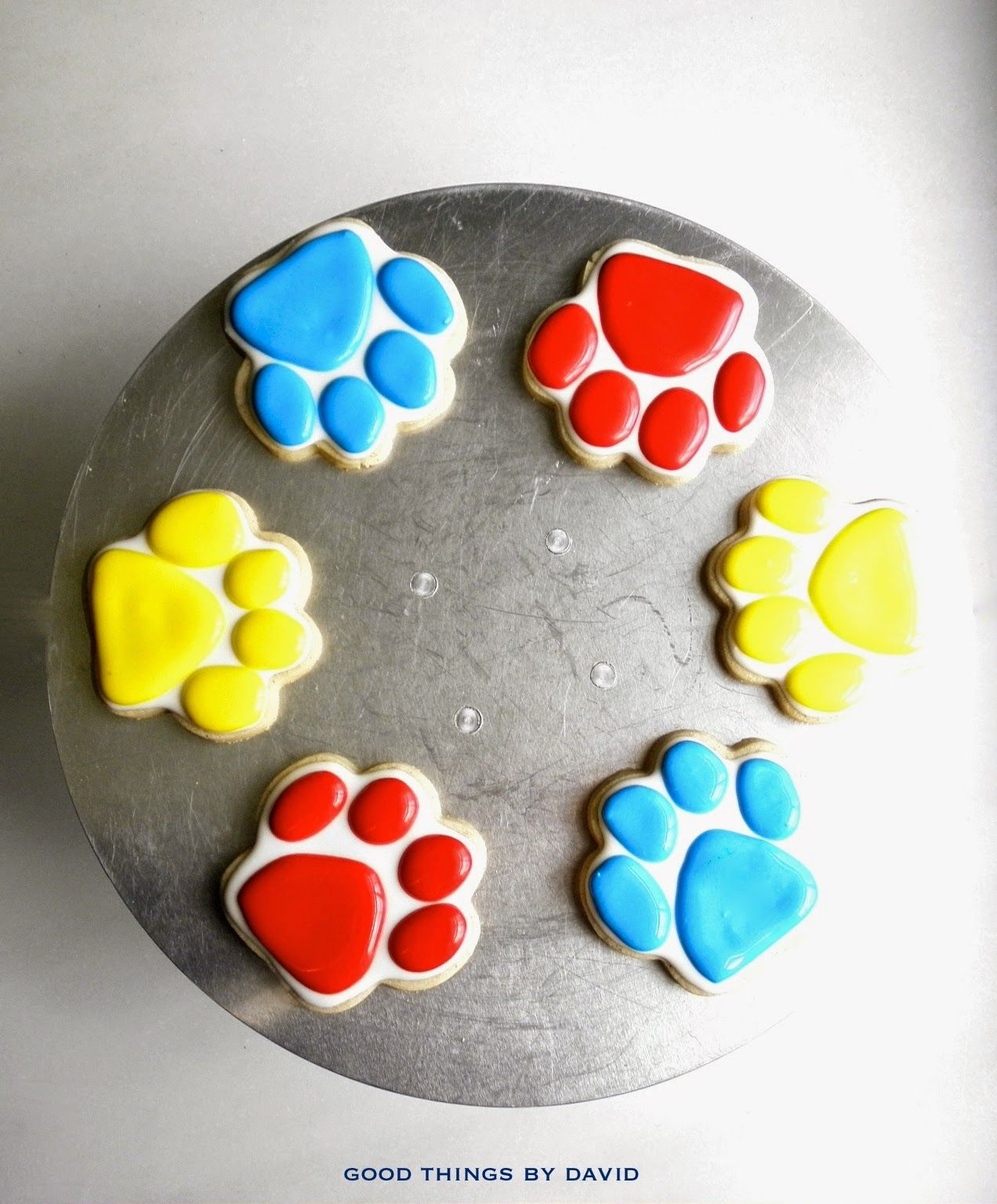 Dog Birthday Decorations Paw Patrol Theme Royal Icing Painted Shortbread Cookies In The
