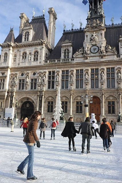 Paris Ice Rink In Front Of L Hotel De Ville City Hall With