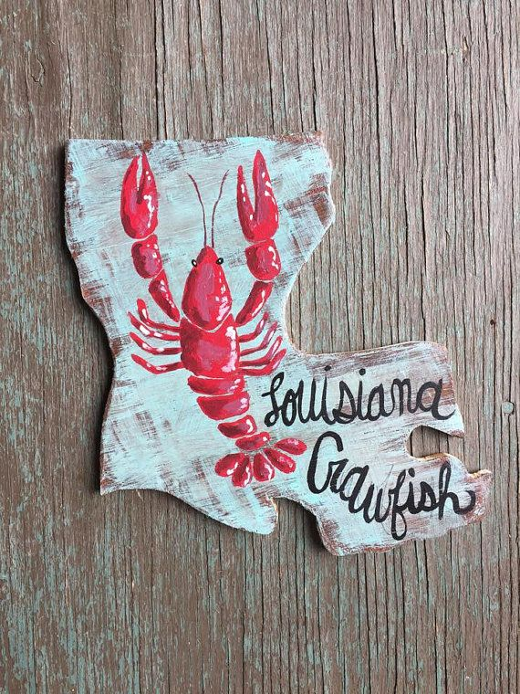Louisiana Crawfish Wooden State Cut Out By
