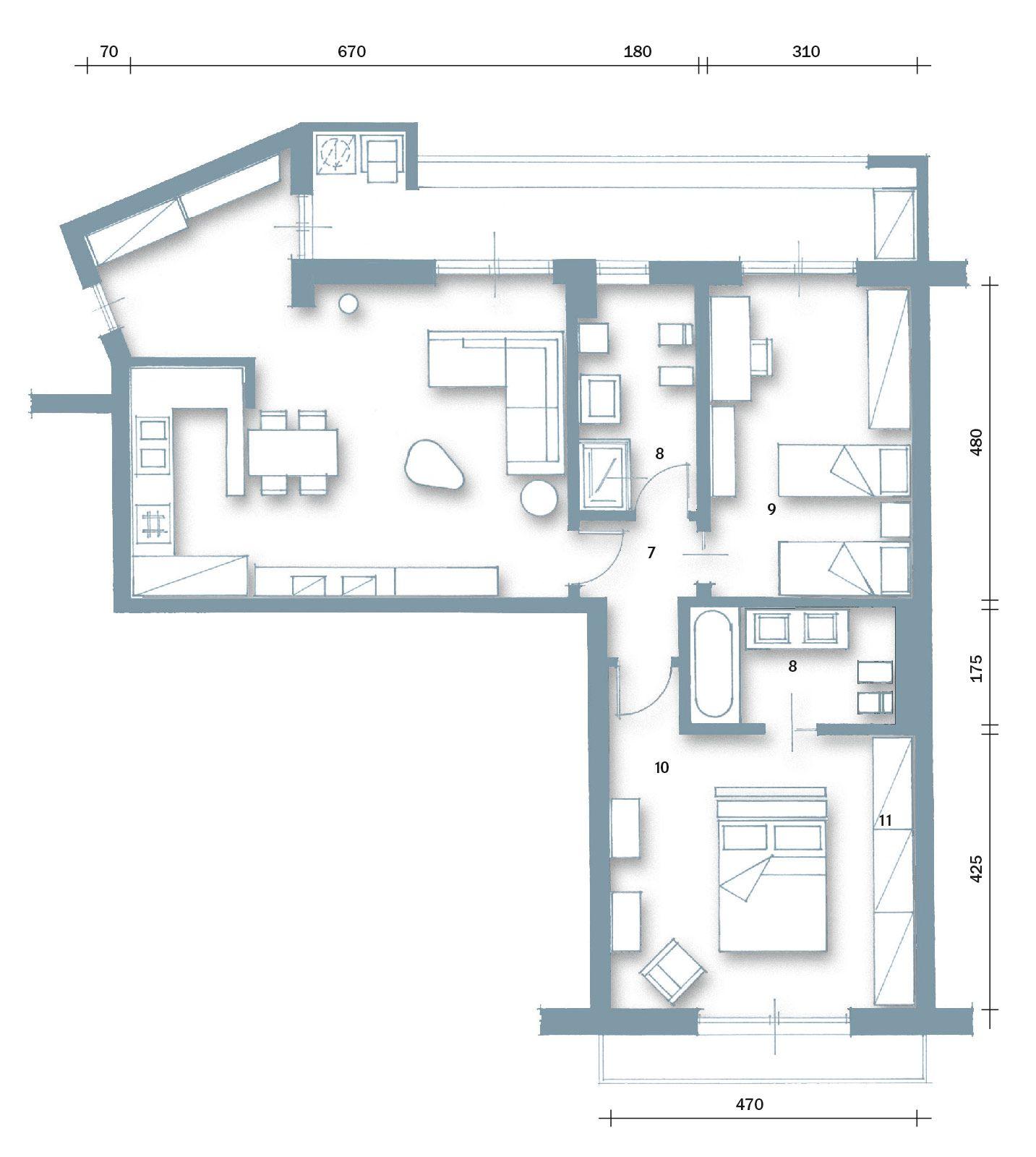 Progetto Appartamento 85 Mq 85 mq: una casa per una famiglia giovane (con immagini