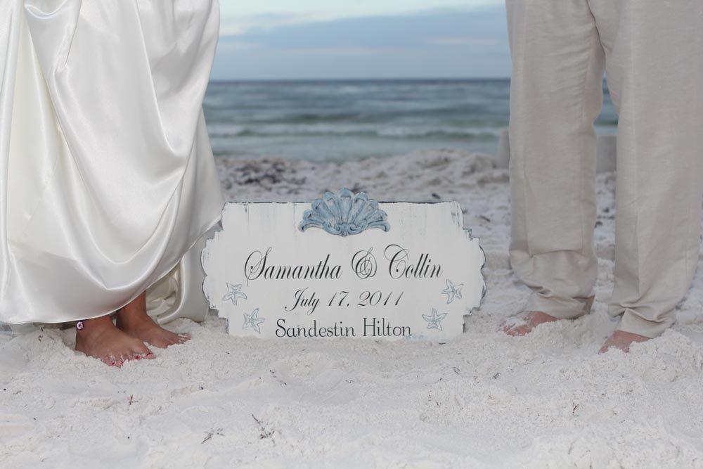 Beach Wedding Signs CUSTOM Wedding Decoration w/ Seashell 14X24 familyattic. $53.95, via Etsy.