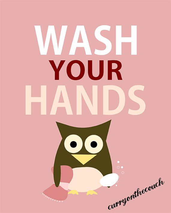 Wash Your Hands Owl Pink Digital Print 8x10 By