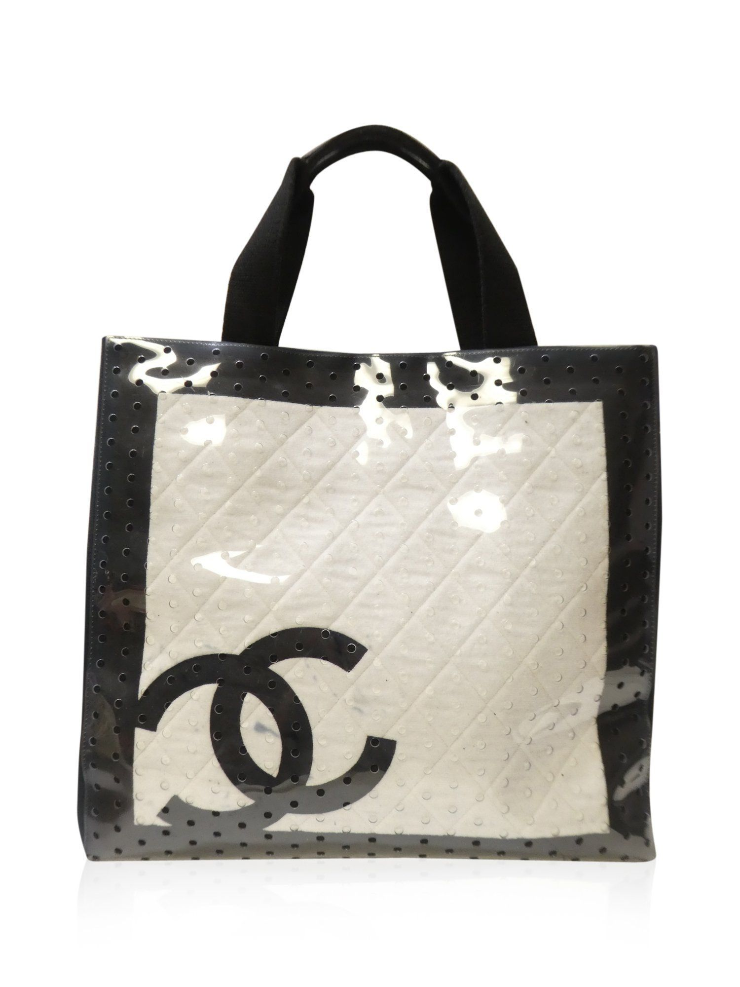 675d52b01cf8 Chanel White Black Canvas CC Vinyl Perforated Cruise Sport Tote Handbag
