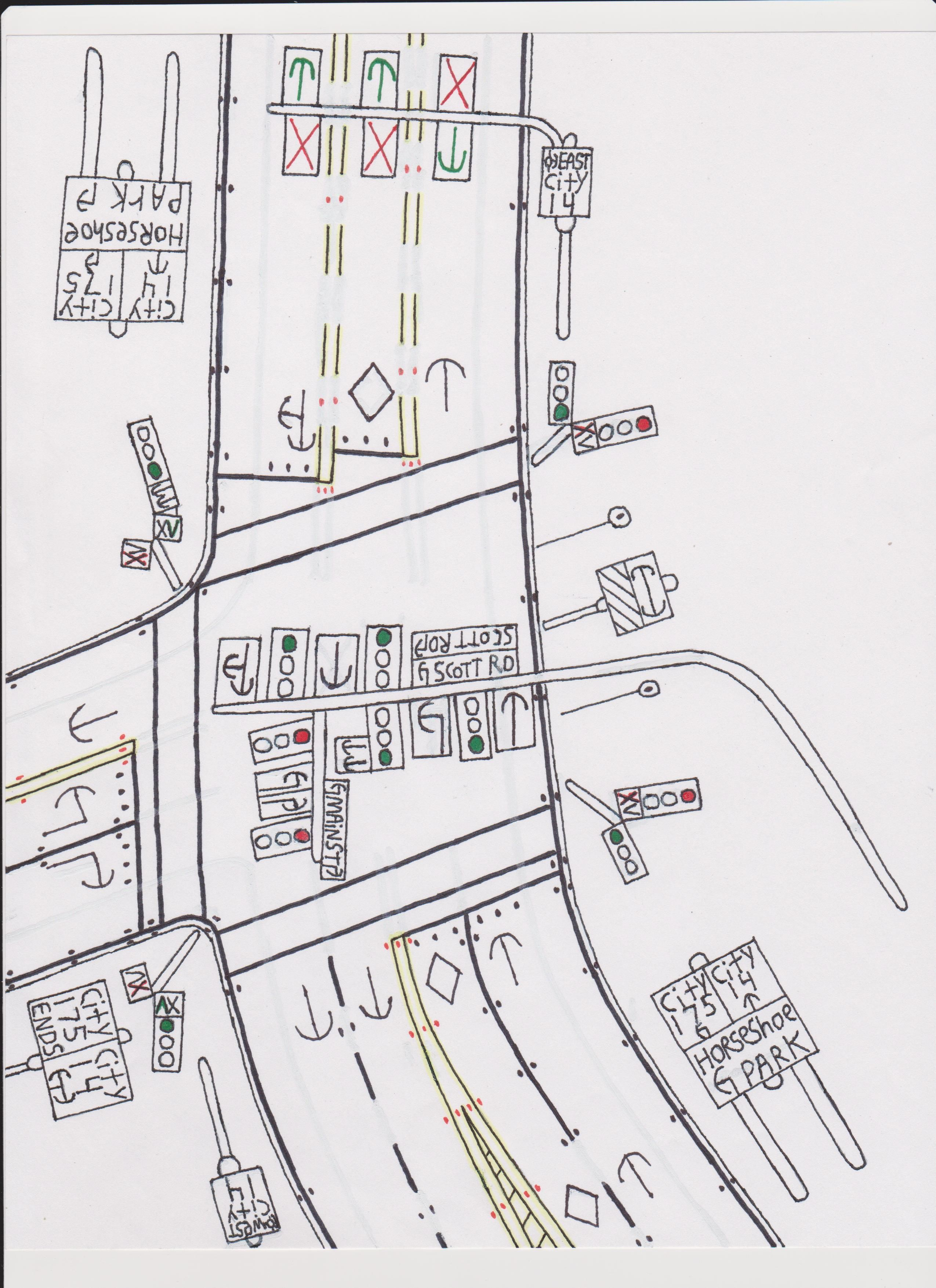 Traffic light intersection with lane signals. | Road Drawings Stuff ...