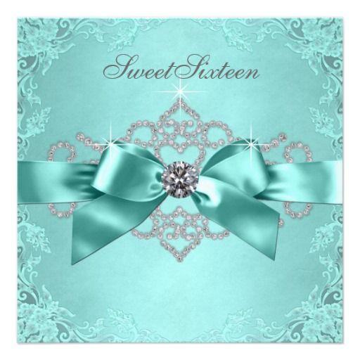 White Diamonds Teal Blue Sweet 16 Birthday Party Invitation | Zazzle.com #sweet16birthdayparty