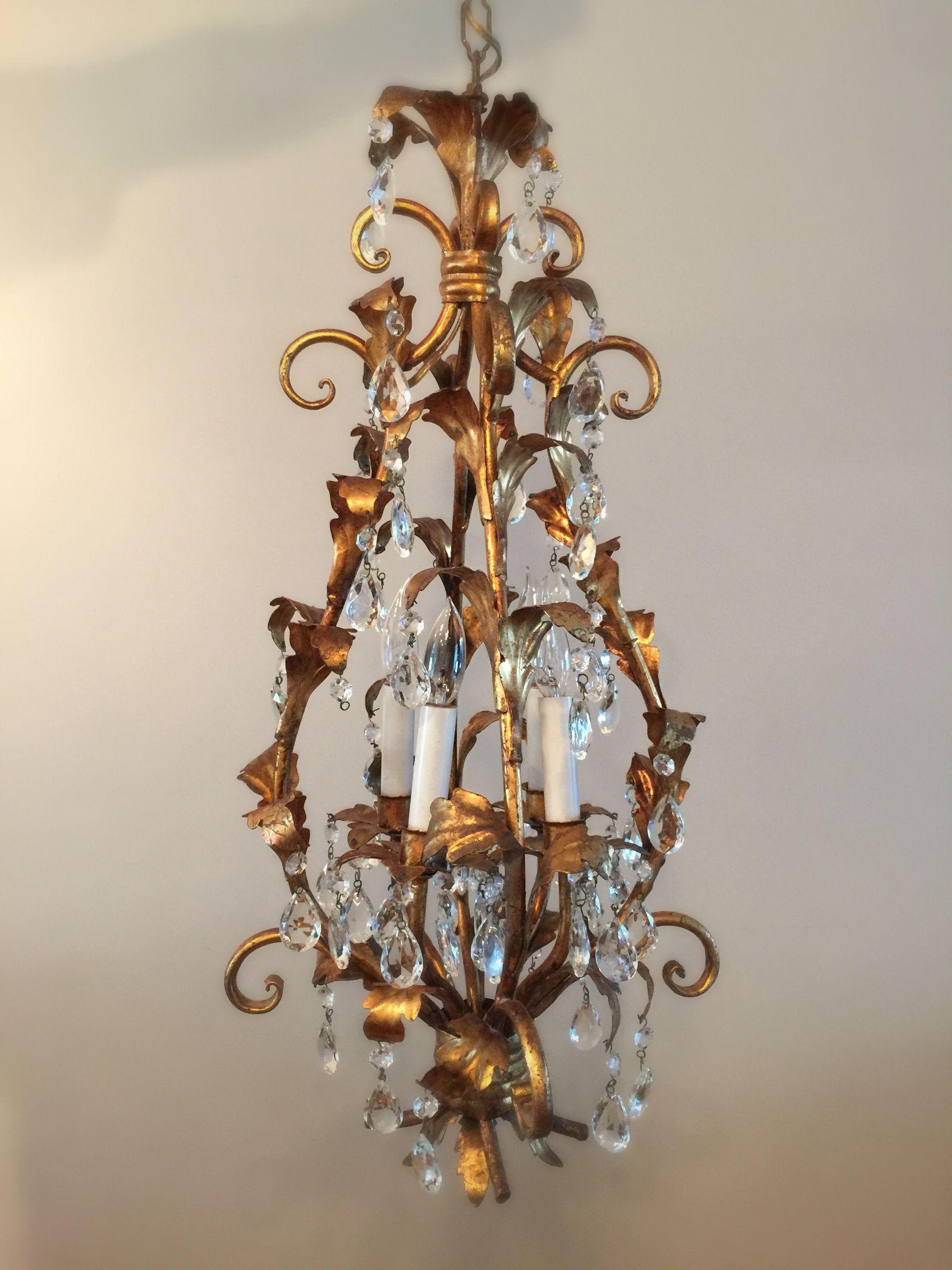 Vintage italian tole gold gilt crystal prism chandelier etsy vintage italian tole gold gilt crystal prism chandelier etsyshop arubaitofo Image collections