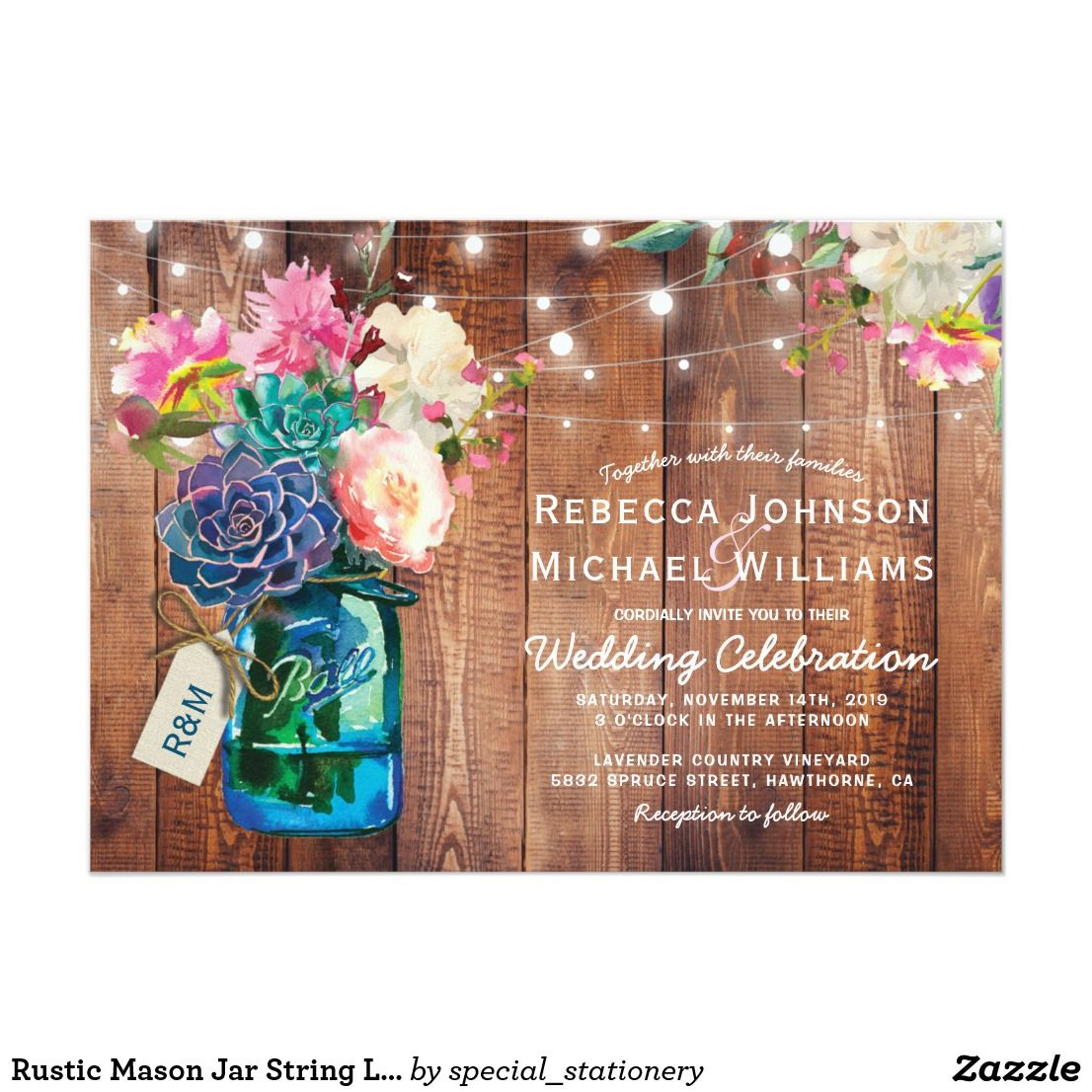 Rustic Mason Jar String Lights Floral Wedding Card Country Invitations Featuring A Wooden Background With Display In