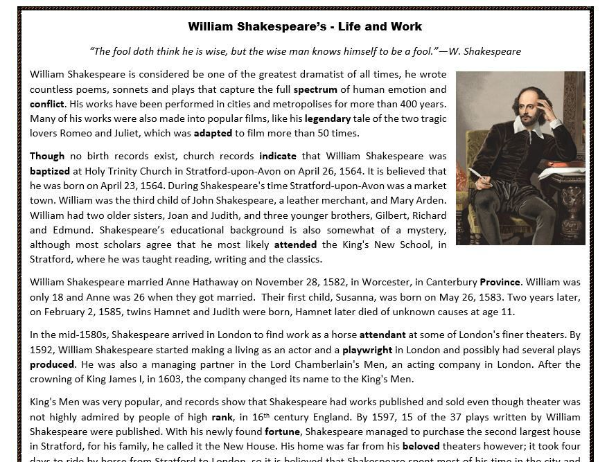 william shakespeare 39 s life and work reading comprehension reading comprehension reading. Black Bedroom Furniture Sets. Home Design Ideas