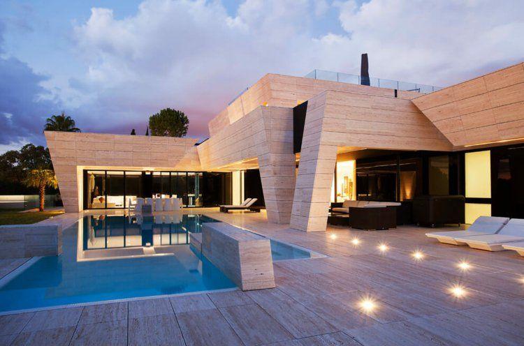 Interieur Maison Modern : Dallage travertin pour intérieur et extérieuru maison en espagne